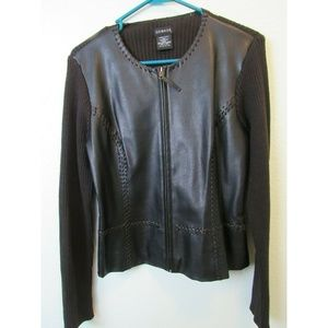 Black Sweater Shirt by George Faux leather Small